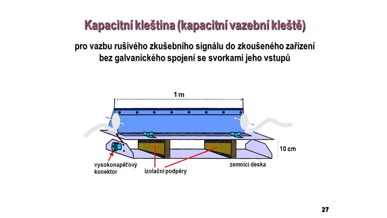 27 Kapacitní kleština (kapacitní vazební kleště) 1 m1 m 10 cm izolační podpěry vysokonapěťový konektor zemnicí deska pro vazbu rušivého zkušebního signálu do zkoušeného zařízení bez galvanického spojení se svorkami jeho vstupů