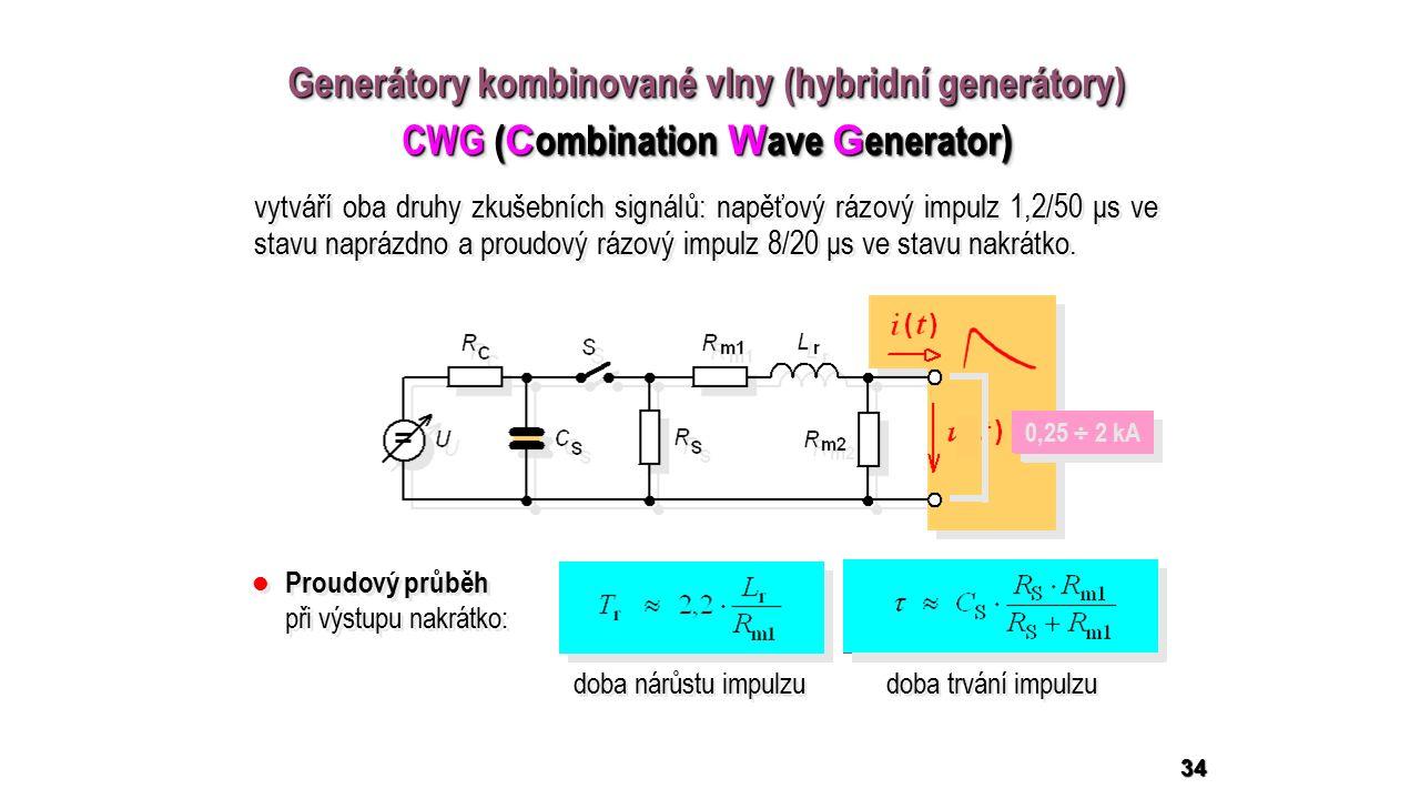 34 Generátory kombinované vlny (hybridní generátory) CWG ( C ombination W ave G enerator) Generátory kombinované vlny (hybridní generátory) CWG ( C ombination W ave G enerator) doba nárůstu impulzu doba trvání impulzu 0,5 ÷ 4 kV 0,25 ÷ 2 kA Proudový průběh při výstupu nakrátko: vytváří oba druhy zkušebních signálů: napěťový rázový impulz 1,2/50 μs ve stavu naprázdno a proudový rázový impulz 8/20 μs ve stavu nakrátko.