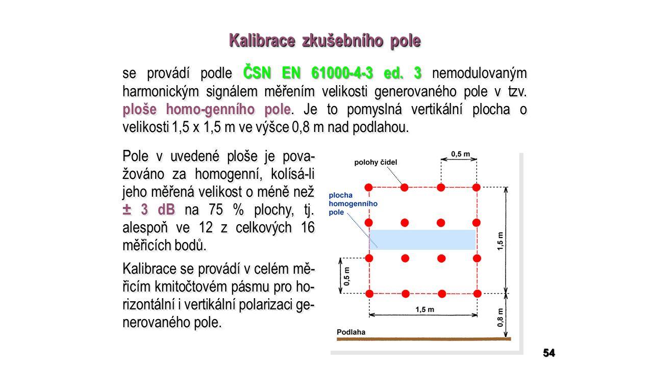 54 Kalibrace zkušebního pole Pole v uvedené ploše je pova- žováno za homogenní, kolísá-li jeho měřená velikost o méně než ± 3 dB na 75 % plochy, tj.