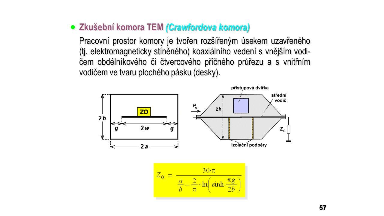 57 (Crawfordova komora)  Zkušební komora TEM (Crawfordova komora) Pracovní prostor komory je tvořen rozšířeným úsekem uzavřeného (tj.