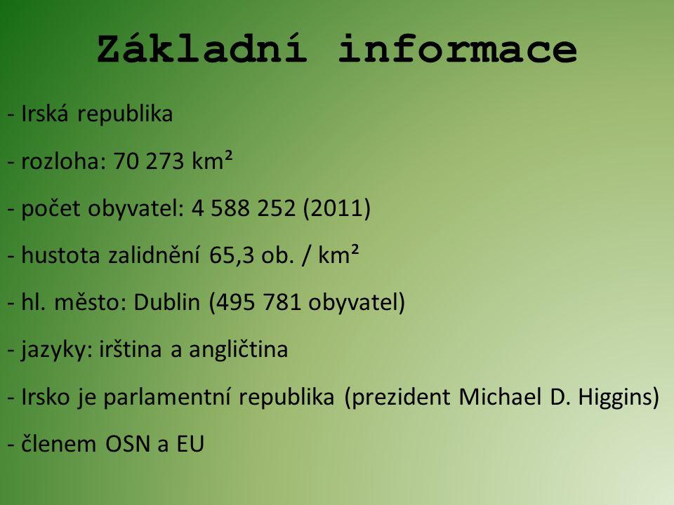 - Irská republika - rozloha: 70 273 km² - počet obyvatel: 4 588 252 (2011) - hustota zalidnění 65,3 ob.