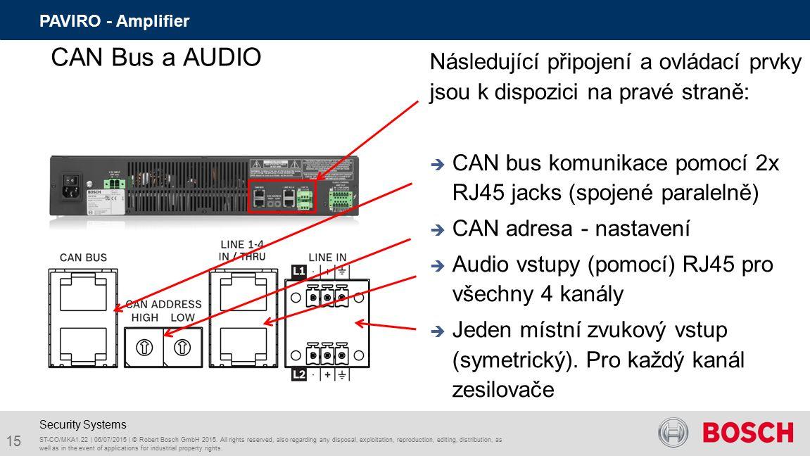 Následující připojení a ovládací prvky jsou k dispozici na pravé straně:  CAN bus komunikace pomocí 2x RJ45 jacks (spojené paralelně)  CAN adresa - nastavení  Audio vstupy (pomocí) RJ45 pro všechny 4 kanály  Jeden místní zvukový vstup (symetrický).
