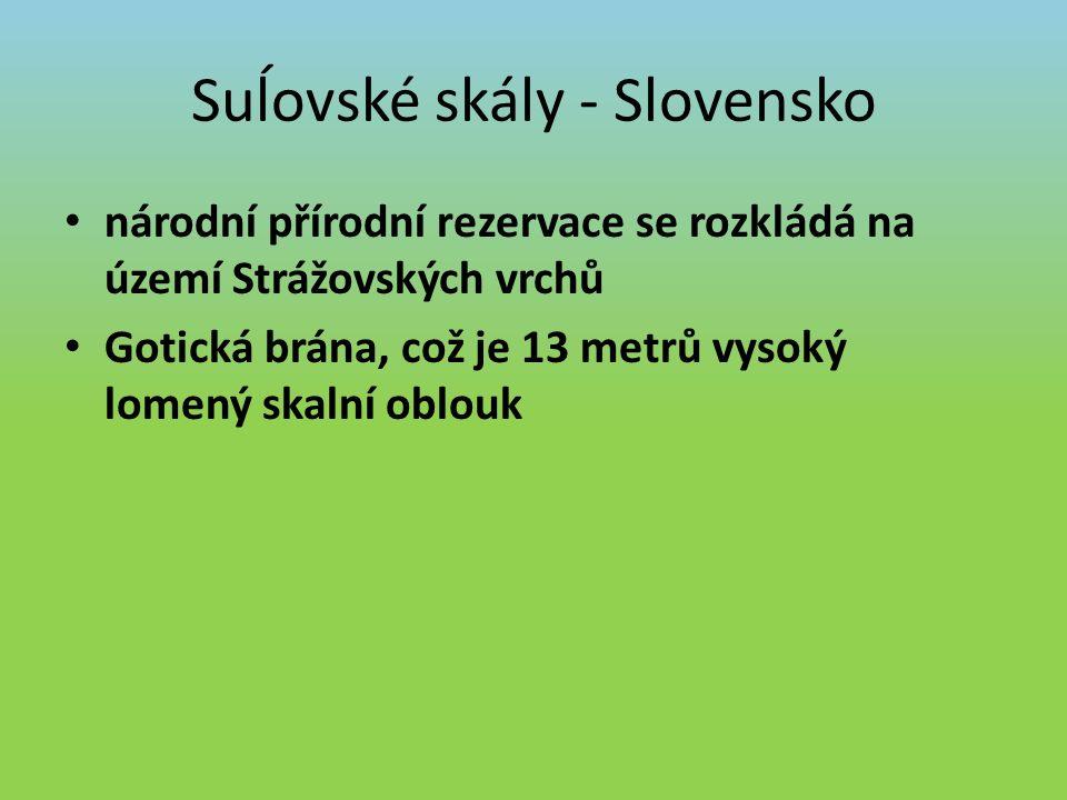 Suĺovské skály - Slovensko národní přírodní rezervace se rozkládá na území Strážovských vrchů Gotická brána, což je 13 metrů vysoký lomený skalní oblouk