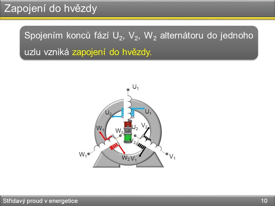 Zapojení do hvězdy Střídavý proud v energetice 10 Spojením konců fází U 2, V 2, W 2 alternátoru do jednoho uzlu vzniká zapojení do hvězdy.