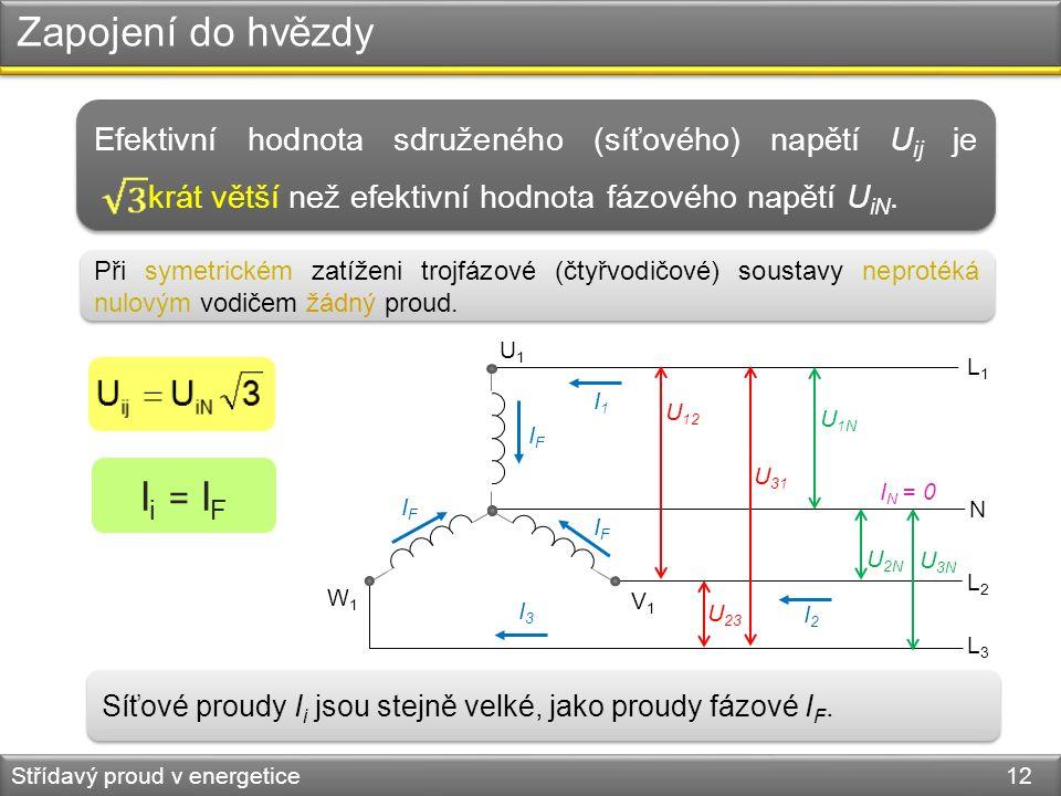 Zapojení do hvězdy Střídavý proud v energetice 12 W1W1 V1V1 L1L1 L2L2 L3L3 N U 12 U 31 U 23 U 1N U 2N U 3N U1U1 Efektivní hodnota sdruženého (síťového) napětí U ij je krát větší než efektivní hodnota fázového napětí U iN.