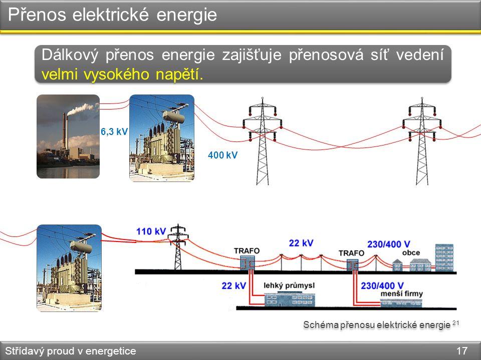 Přenos elektrické energie Střídavý proud v energetice 17 Dálkový přenos energie zajišťuje přenosová síť vedení velmi vysokého napětí. Schéma přenosu e