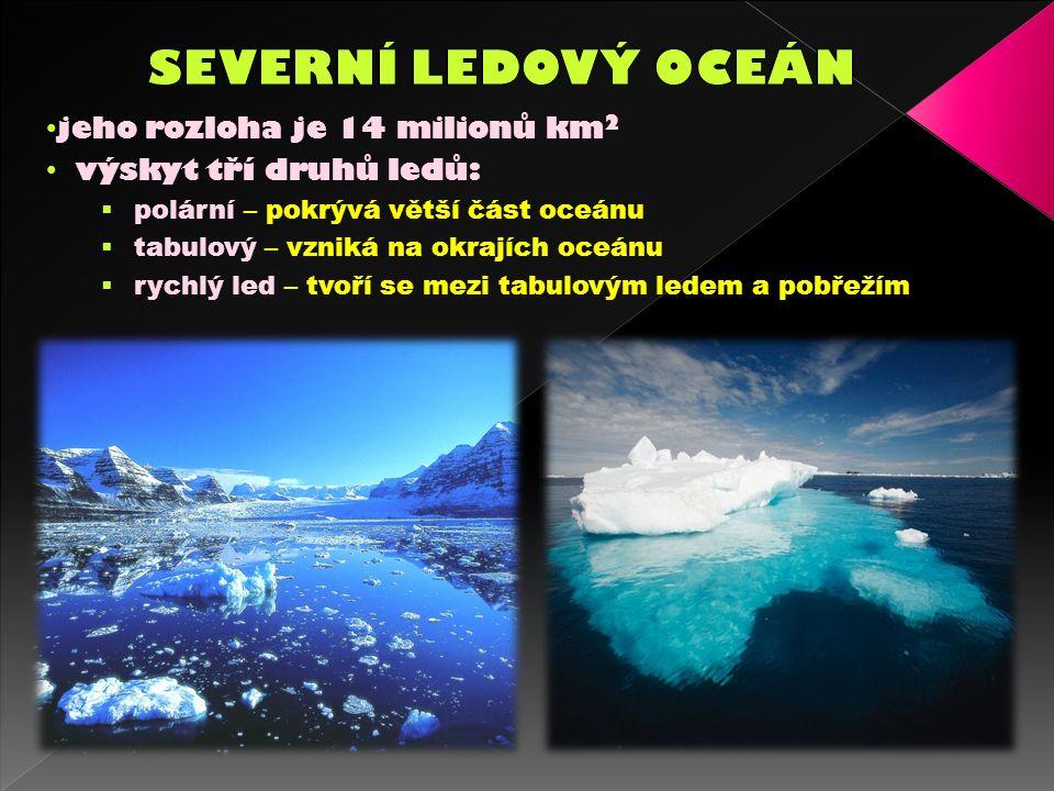 jeho rozloha je 14 milionů km 2 výskyt tří druhů ledů:  polární – pokrývá větší část oceánu  tabulový – vzniká na okrajích oceánu  rychlý led – tvoří se mezi tabulovým ledem a pobřežím