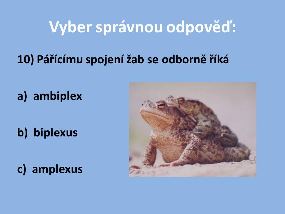 Vyber správnou odpověď: 10) Pářícímu spojení žab se odborně říká a) ambiplex b) biplexus c) amplexus