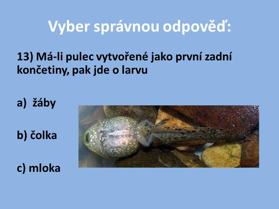 Vyber správnou odpověď: 13) Má-li pulec vytvořené jako první zadní končetiny, pak jde o larvu a) žáby b) čolka c) mloka