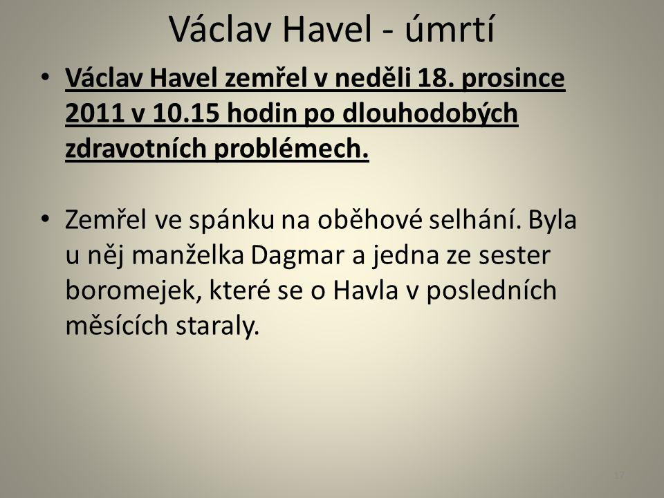 Václav Havel - úmrtí Václav Havel zemřel v neděli 18. prosince 2011 v 10.15 hodin po dlouhodobých zdravotních problémech. Zemřel ve spánku na oběhové