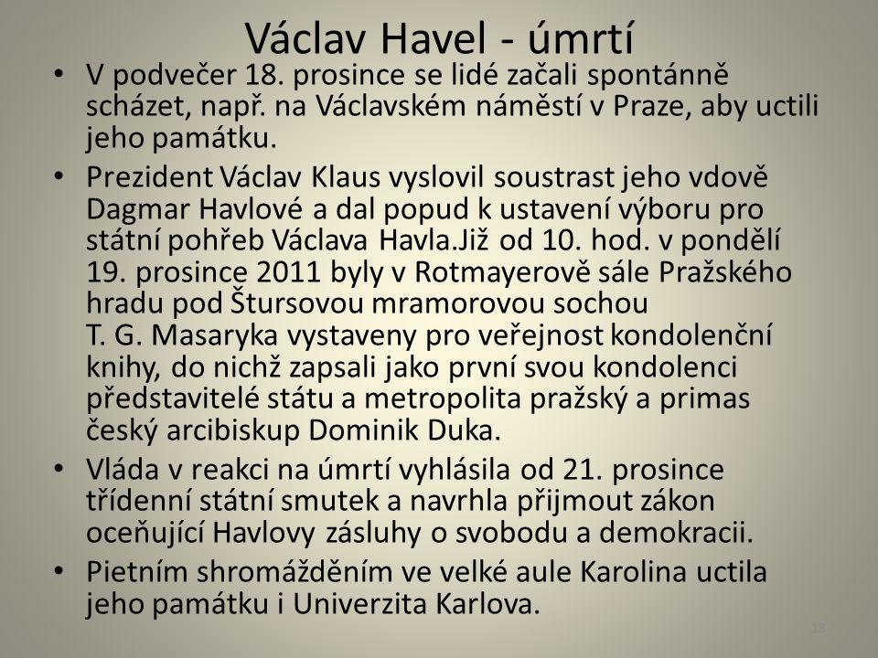 Václav Havel - úmrtí V podvečer 18. prosince se lidé začali spontánně scházet, např. na Václavském náměstí v Praze, aby uctili jeho památku. Prezident