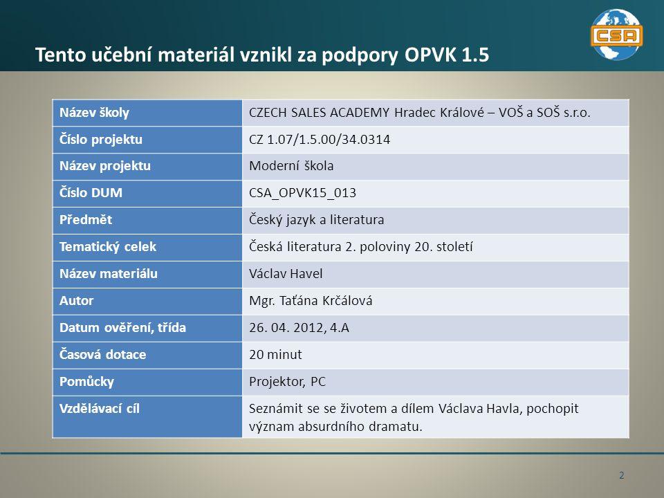 Václav Havel - život Dne 15.