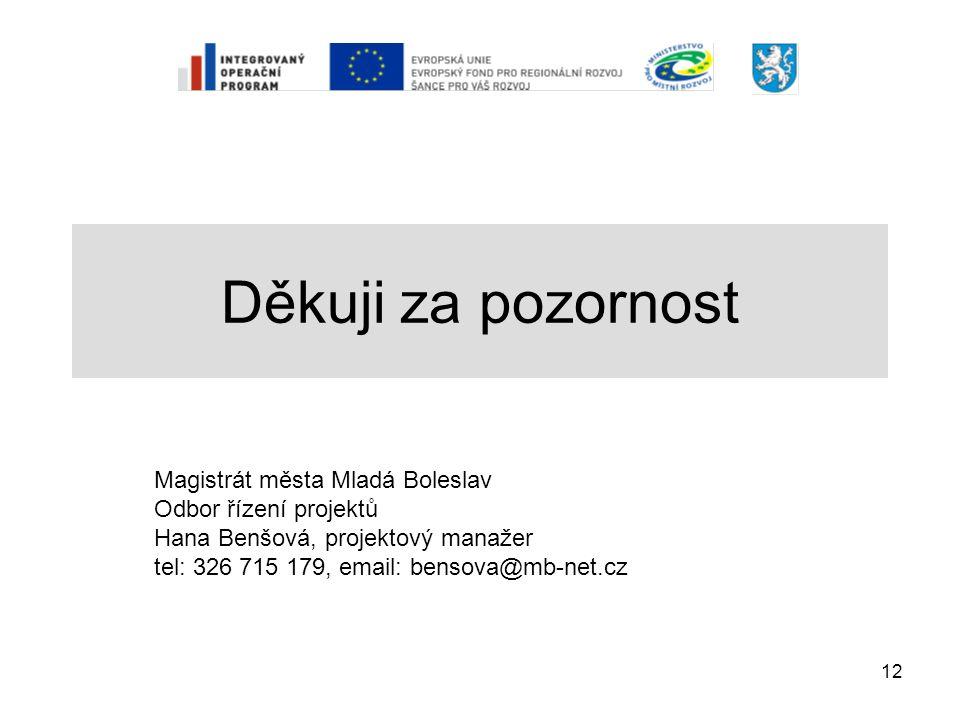 12 Děkuji za pozornost Magistrát města Mladá Boleslav Odbor řízení projektů Hana Benšová, projektový manažer tel: 326 715 179, email: bensova@mb-net.c