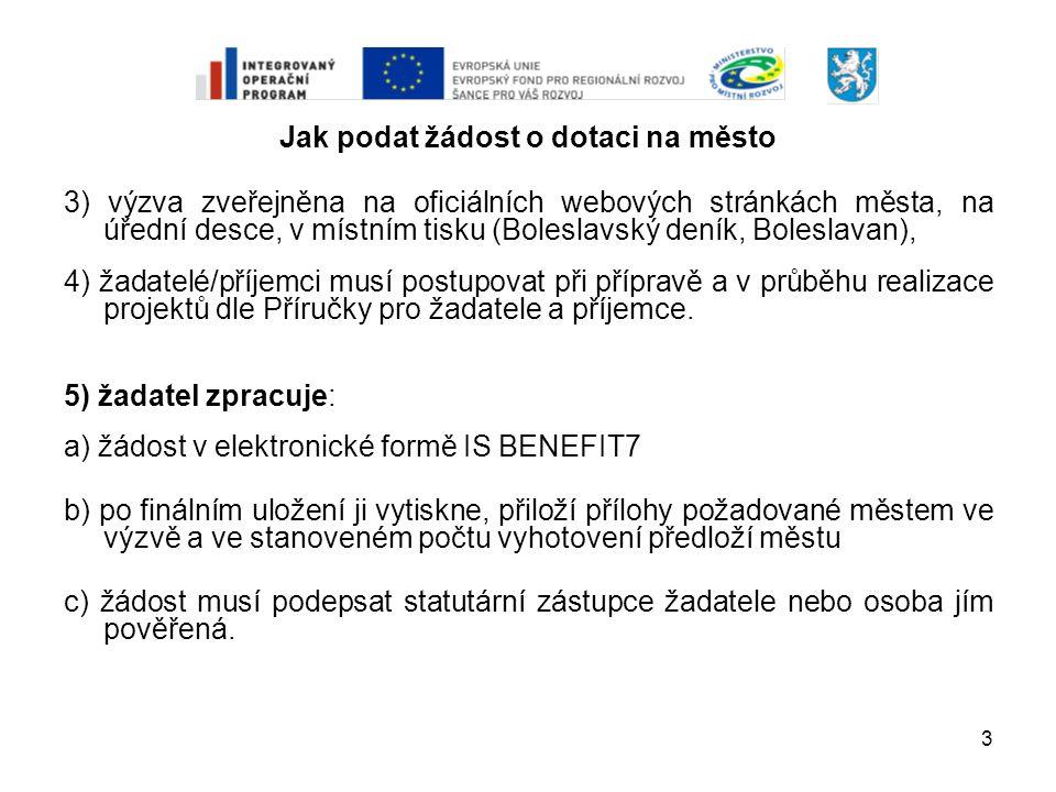 3 Jak podat žádost o dotaci na město 3) výzva zveřejněna na oficiálních webových stránkách města, na úřední desce, v místním tisku (Boleslavský deník,