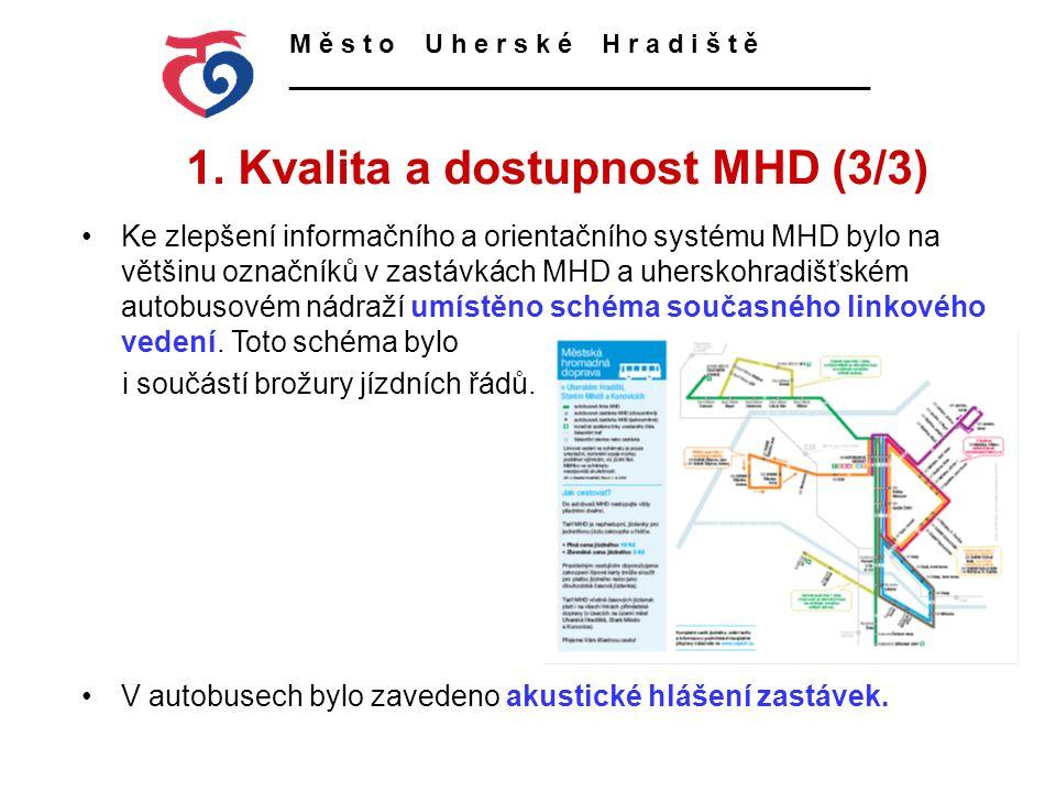 1. Kvalita a dostupnost MHD (3/3) M ě s t o U h e r s k é H r a d i š t ě ________________________________________ Ke zlepšení informačního a orientač