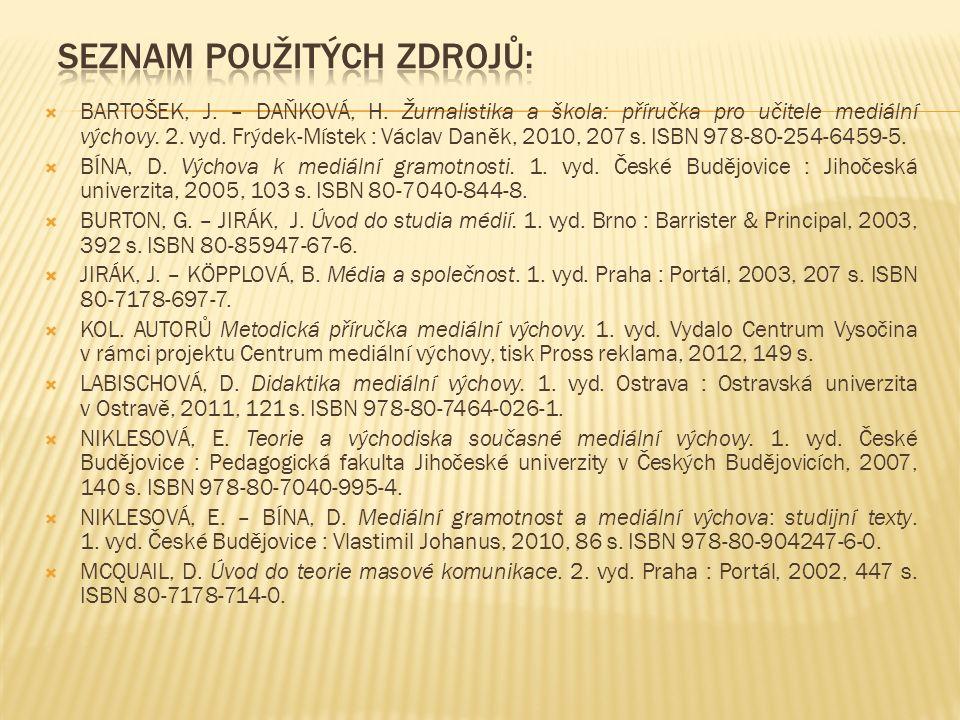  BARTOŠEK, J. – DAŇKOVÁ, H. Žurnalistika a škola: příručka pro učitele mediální výchovy. 2. vyd. Frýdek-Místek : Václav Daněk, 2010, 207 s. ISBN 978-