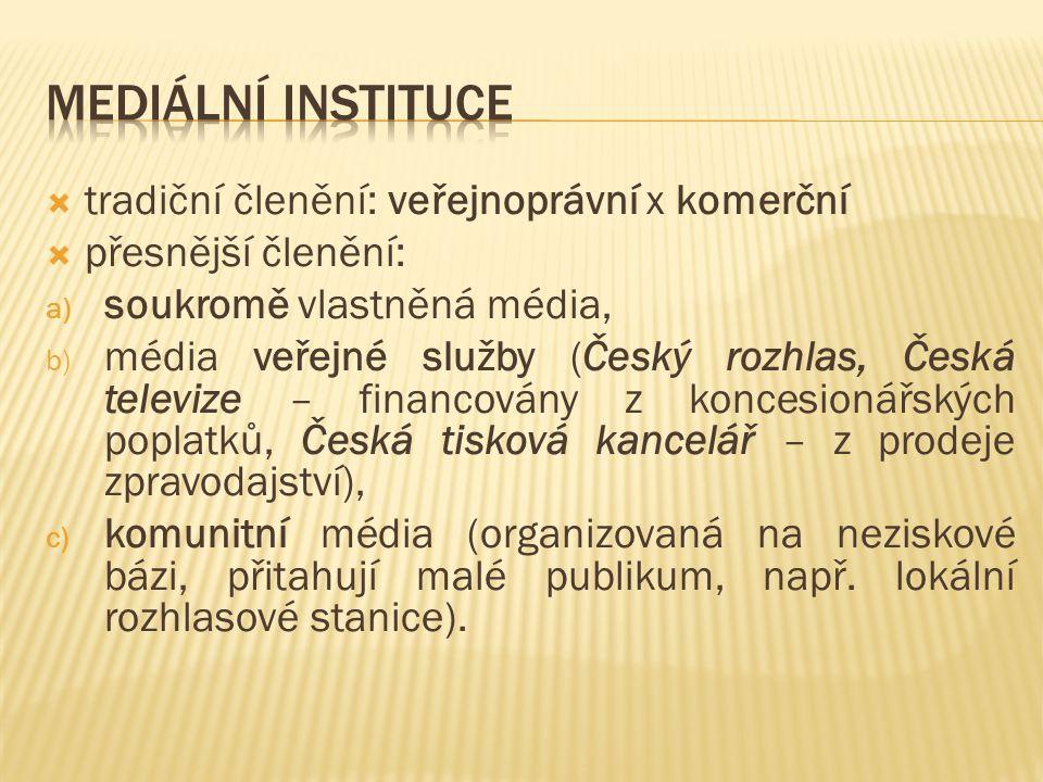  tradiční členění: veřejnoprávní x komerční  přesnější členění: a) soukromě vlastněná média, b) média veřejné služby (Český rozhlas, Česká televize