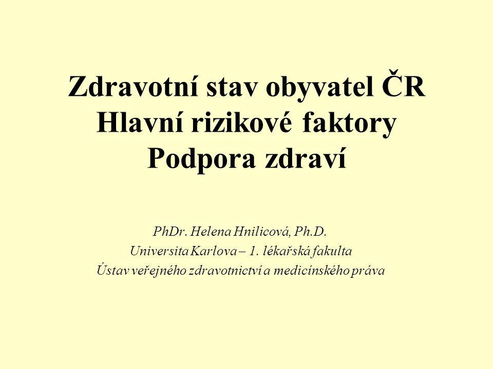 Zdravotní stav obyvatel ČR Hlavní rizikové faktory Podpora zdraví PhDr.