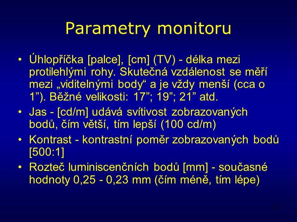 10 Parametry monitoru Úhlopříčka [palce], [cm] (TV) - délka mezi protilehlými rohy.