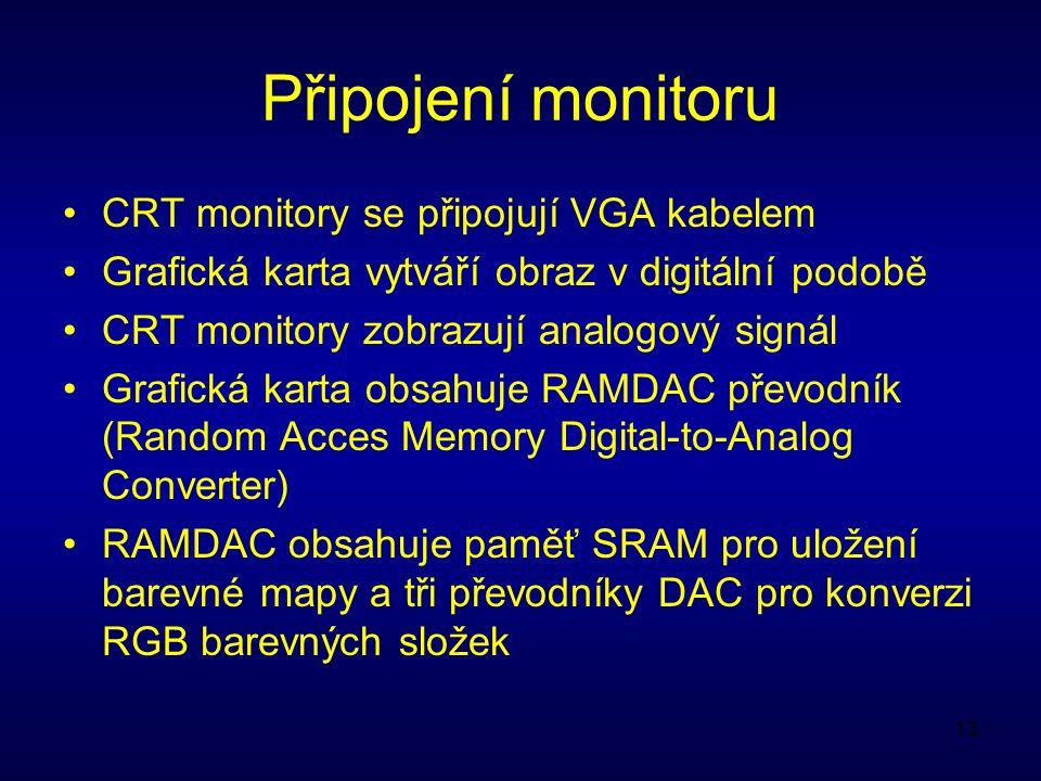 13 Připojení monitoru CRT monitory se připojují VGA kabelem Grafická karta vytváří obraz v digitální podobě CRT monitory zobrazují analogový signál Grafická karta obsahuje RAMDAC převodník (Random Acces Memory Digital-to-Analog Converter) RAMDAC obsahuje paměť SRAM pro uložení barevné mapy a tři převodníky DAC pro konverzi RGB barevných složek