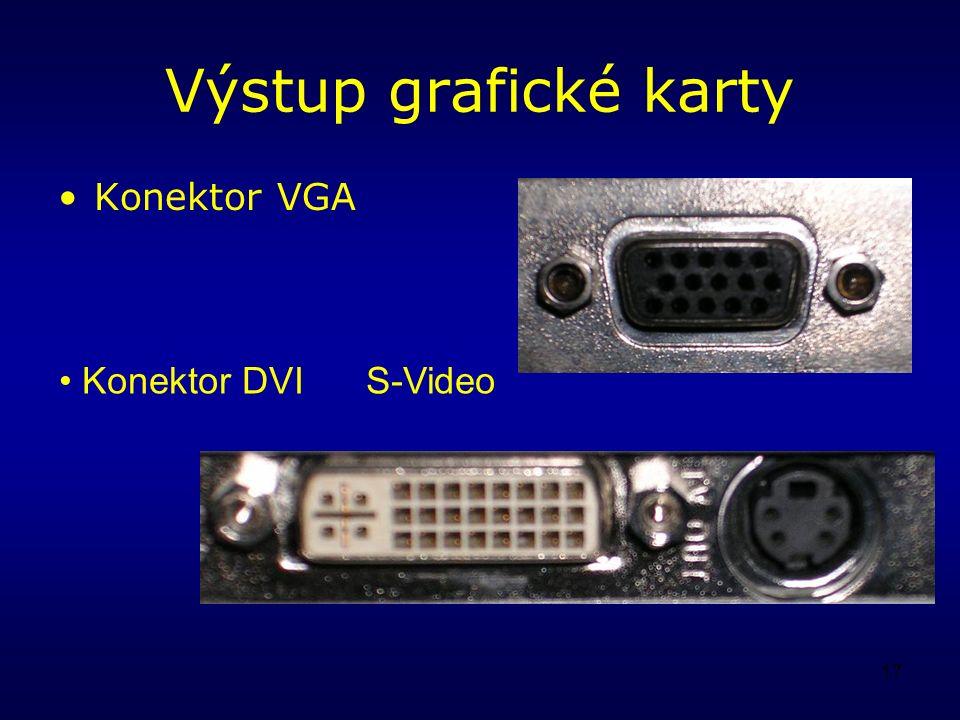17 Výstup grafické karty Konektor VGA Konektor DVI S-Video