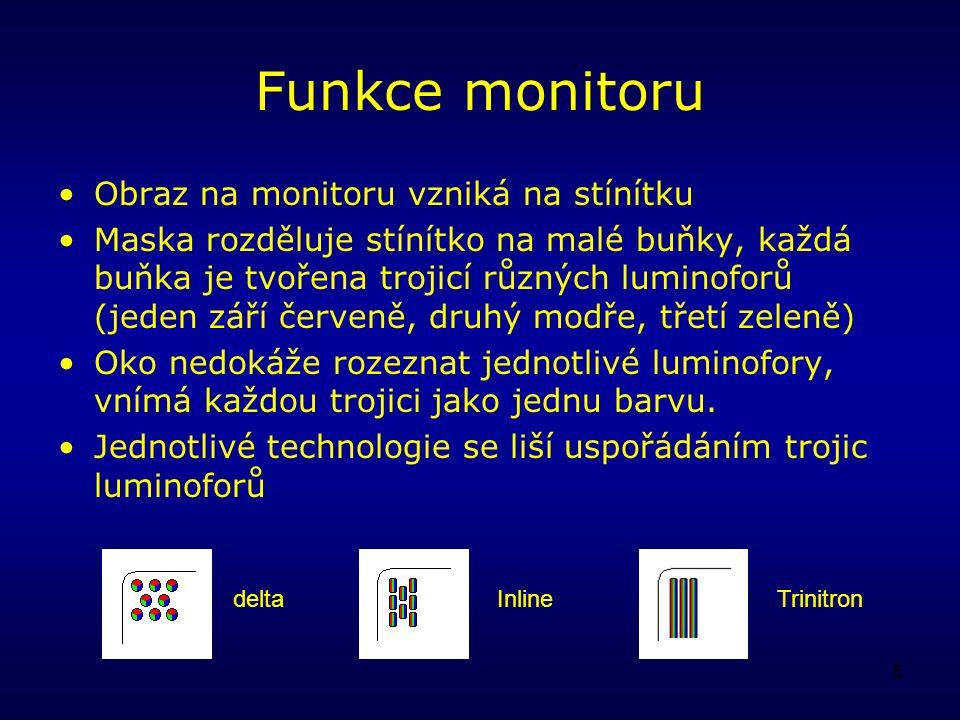 5 Funkce monitoru Obraz na monitoru vzniká na stínítku Maska rozděluje stínítko na malé buňky, každá buňka je tvořena trojicí různých luminoforů (jeden září červeně, druhý modře, třetí zeleně) Oko nedokáže rozeznat jednotlivé luminofory, vnímá každou trojici jako jednu barvu.