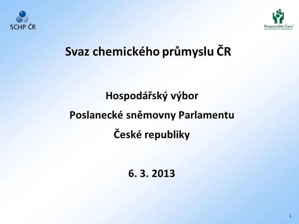 2 SCHP ČR Svaz chemického průmyslu ČR je nejvýznamnějším reprezentantem chemického sektoru v České republice Od roku 1992 působí jako samostatné, dobrovolné profesní sdružení subjektů z oblasti výroby, obchodu, vědy a výzkumu se zaměřením na chemický průmysl, petrochemii, rafinérský průmysl, farmaceutický průmysl, výrobu pryže a plastů.