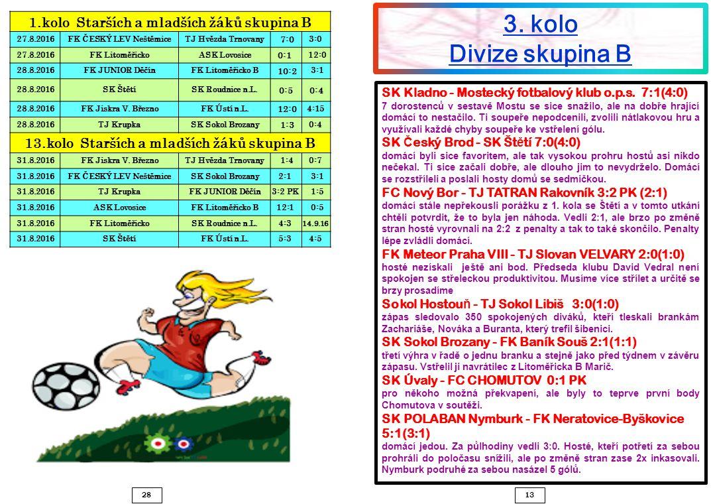 1328 SK Kladno - Mostecký fotbalový klub o.p.s. 7:1(4:0) 7 dorostenců v sestavě Mostu se sice snažilo, ale na dobře hrající domácí to nestačilo. Ti so