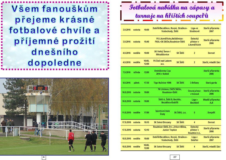 437 Fotbalová nabídka na zápasy a turnaje na h ř ištích soupe řů