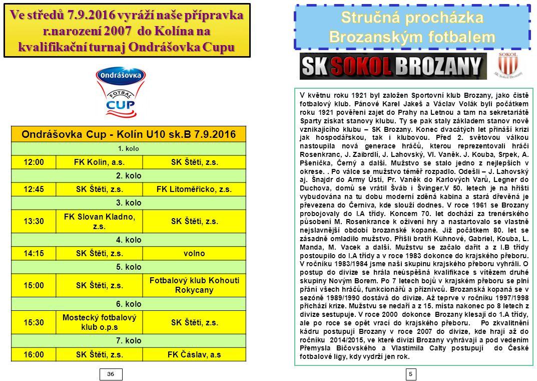 536 Ondrášovka Cup - Kolín U10 sk.B 7.9.2016 1. kolo 12:00FK Kolín, a.s.SK Štětí, z.s. 2. kolo 12:45SK Štětí, z.s.FK Litoměřicko, z.s. 3. kolo 13:30 F