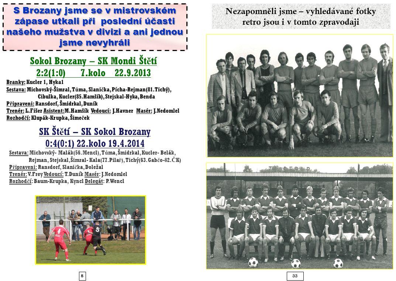833 S Brozany jsme se v mistrovském zápase utkali při poslední účasti našeho mužstva v divizi a ani jednou jsme nevyhráli SK Št ě tí – SK Sokol Brozany 0:4(0:1) 22.kolo 19.4.2014 Sestava: Michovský- Malák(56.