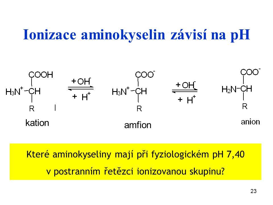 23 Ionizace aminokyselin závisí na pH Které aminokyseliny mají při fyziologickém pH 7,40 v postranním řetězci ionizovanou skupinu.