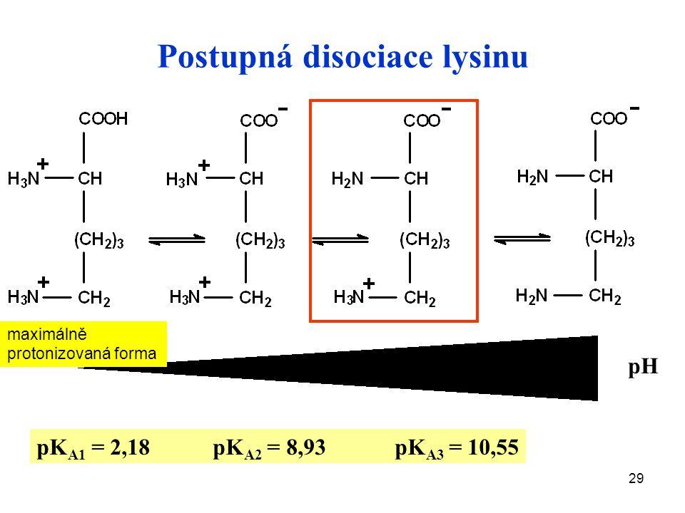 29 pH pK A1 = 2,18 pK A2 = 8,93 pK A3 = 10,55 Postupná disociace lysinu maximálně protonizovaná forma