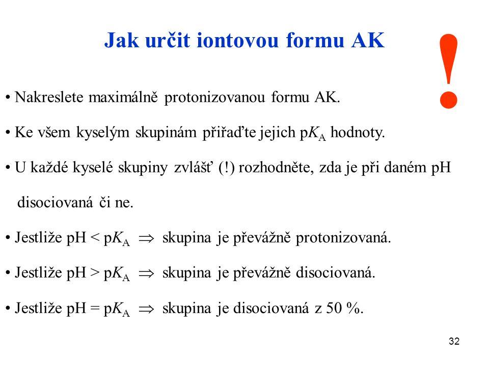 32 Jak určit iontovou formu AK Nakreslete maximálně protonizovanou formu AK.