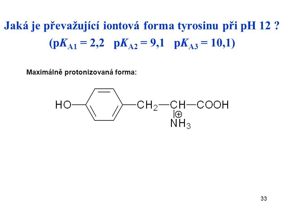 33 Jaká je převažující iontová forma tyrosinu při pH 12 .