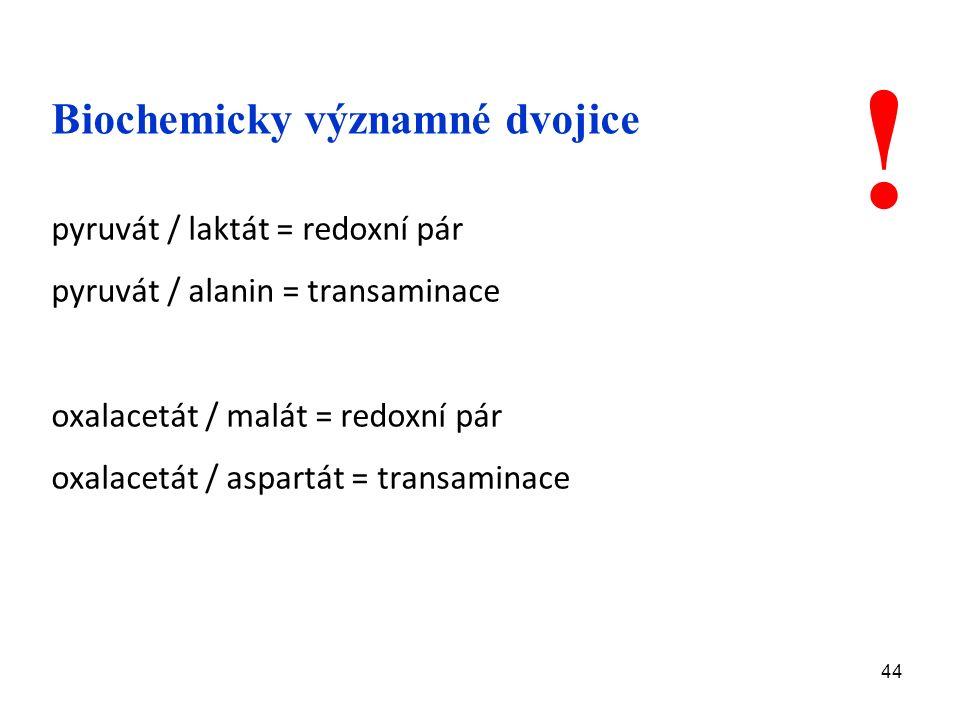 44 Biochemicky významné dvojice pyruvát / laktát = redoxní pár pyruvát / alanin = transaminace oxalacetát / malát = redoxní pár oxalacetát / aspartát = transaminace !