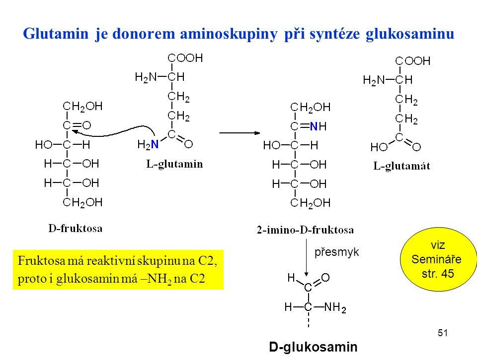 51 Glutamin je donorem aminoskupiny při syntéze glukosaminu Fruktosa má reaktivní skupinu na C2, proto i glukosamin má –NH 2 na C2 D-glukosamin přesmyk viz Semináře str.