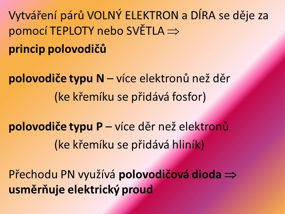 Vytváření párů VOLNÝ ELEKTRON a DÍRA se děje za pomocí TEPLOTY nebo SVĚTLA  princip polovodičů polovodiče typu N – více elektronů než děr (ke křemíku se přidává fosfor) polovodiče typu P – více děr než elektronů (ke křemíku se přidává hliník) Přechodu PN využívá polovodičová dioda  usměrňuje elektrický proud