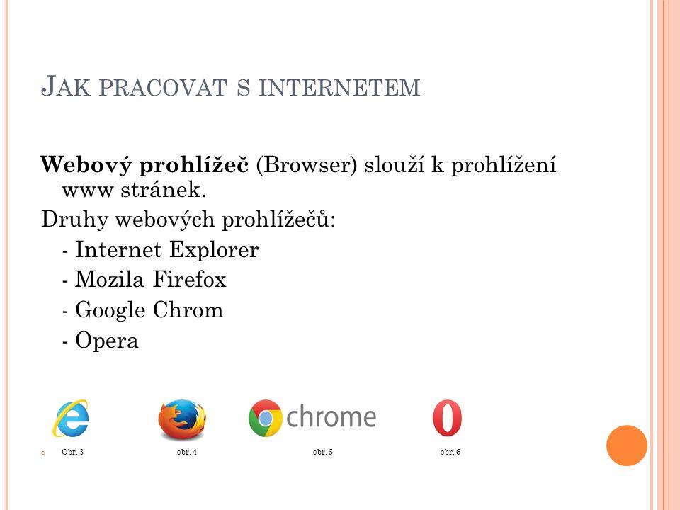 J AK PRACOVAT S INTERNETEM Webový prohlížeč (Browser) slouží k prohlížení www stránek.