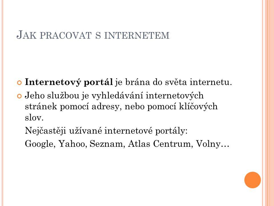 J AK PRACOVAT S INTERNETEM Internetový portál je brána do světa internetu.