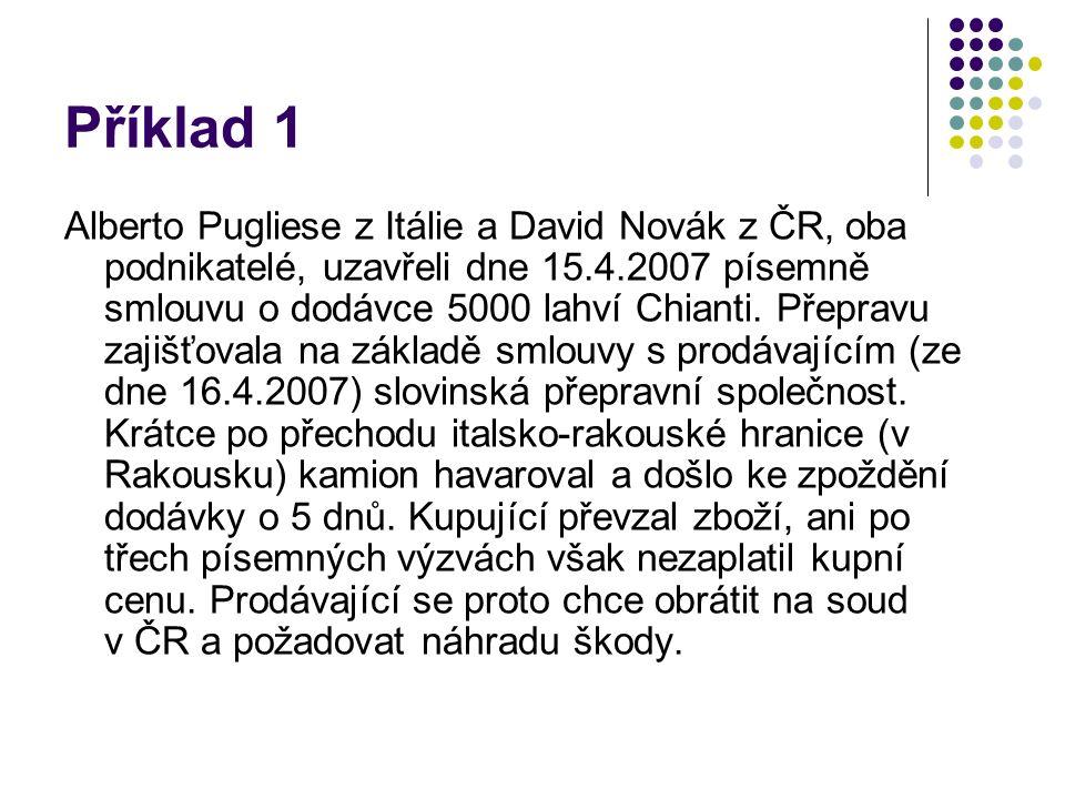 Příklad 1 Alberto Pugliese z Itálie a David Novák z ČR, oba podnikatelé, uzavřeli dne 15.4.2007 písemně smlouvu o dodávce 5000 lahví Chianti.