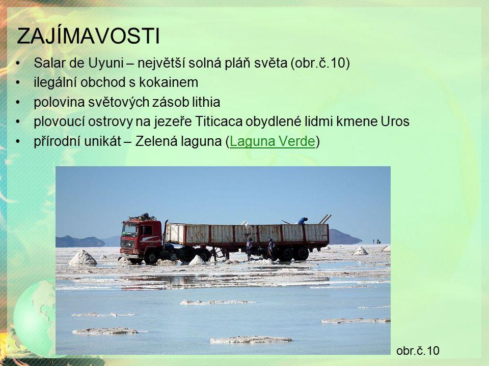 ZAJÍMAVOSTI Salar de Uyuni – největší solná pláň světa (obr.č.10) ilegální obchod s kokainem polovina světových zásob lithia plovoucí ostrovy na jezeře Titicaca obydlené lidmi kmene Uros přírodní unikát – Zelená laguna (Laguna Verde)Laguna Verde obr.č.10