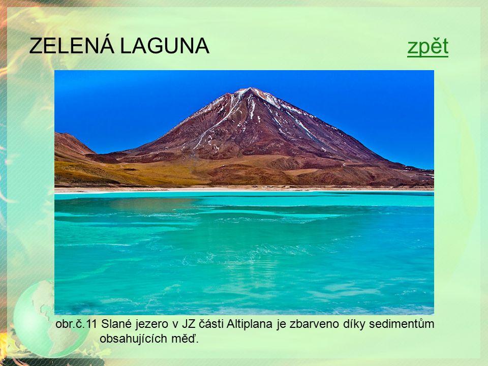 ZELENÁ LAGUNA zpětzpět obr.č.11 Slané jezero v JZ části Altiplana je zbarveno díky sedimentům obsahujících měď.
