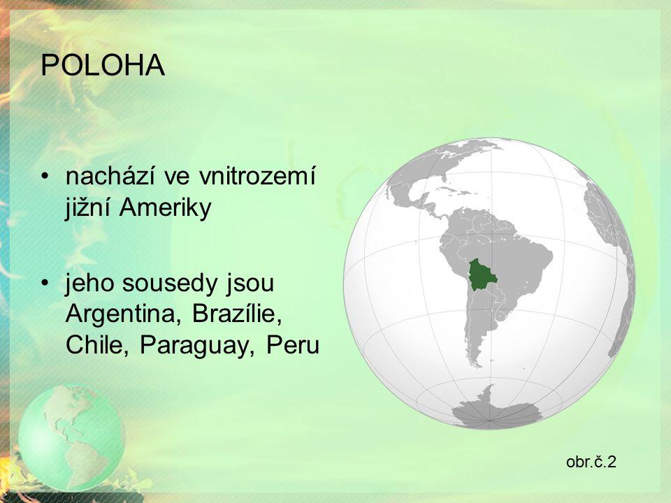 POLOHA nachází ve vnitrozemí jižní Ameriky jeho sousedy jsou Argentina, Brazílie, Chile, Paraguay, Peru obr.č.2