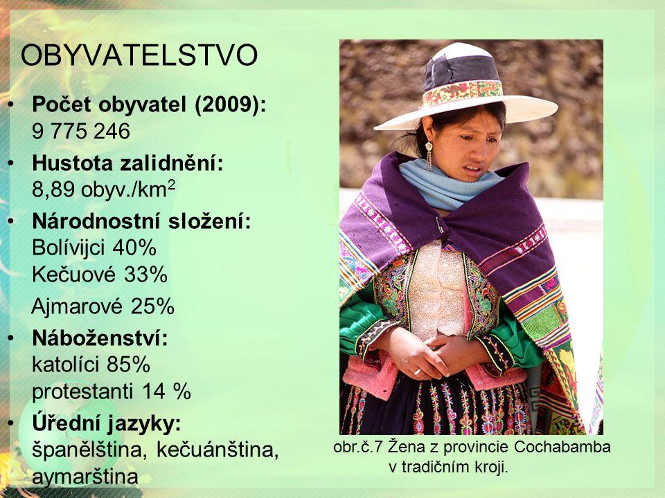 OBYVATELSTVO Počet obyvatel (2009): 9 775 246 Hustota zalidnění: 8,89 obyv./km 2 Národnostní složení: Bolívijci 40% Kečuové 33% Ajmarové 25% Náboženst