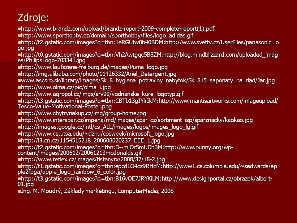 Zdroje: http://www.brandz.com/upload/brandz-report-2009-complete-report(1).pdf http://www.brandz.com/upload/brandz-report-2009-complete-report(1).pdf http://www.sporthobby.cz/domain/sporthobby/files/logo_adidas.gif http://www.sporthobby.cz/domain/sporthobby/files/logo_adidas.gif http://t2.gstatic.com/images?q=tbn:1eRGUfw0b40BDM:http://www.svettv.cz/UserFiles/panasonic_lo go.jpg http://t2.gstatic.com/images?q=tbn:1eRGUfw0b40BDM:http://www.svettv.cz/UserFiles/panasonic_lo go.jpg http://t0.gstatic.com/images?q=tbn:Vh2Awtgqc5B8ZM:http://blog.mindblizzard.com/uploaded_imag es/PhilipsLogo-703341.jpg http://t0.gstatic.com/images?q=tbn:Vh2Awtgqc5B8ZM:http://blog.mindblizzard.com/uploaded_imag es/PhilipsLogo-703341.jpg http://www.laufszene-freiburg.de/images/Puma_logo.jpg http://www.laufszene-freiburg.de/images/Puma_logo.jpg http://img.alibaba.com/photo/11426332/Ariel_Detergent.jpg http://img.alibaba.com/photo/11426332/Ariel_Detergent.jpg www.ascsro.sk/library/images/Sk_8_hygiena_potraviny_nabytok/Sk_815_saponaty_na_riad/Jar.jpg www.ascsro.sk/library/images/Sk_8_hygiena_potraviny_nabytok/Sk_815_saponaty_na_riad/Jar.jpg http://www.olma.cz/pic/olma_i.jpg http://www.olma.cz/pic/olma_i.jpg http://www.agropol.cz/imgs/srv99/vodnanske_kure_logotyp.gif http://www.agropol.cz/imgs/srv99/vodnanske_kure_logotyp.gif http://t3.gstatic.com/images?q=tbn:CBTb13gIYlrIkM:http://www.mantisartworks.com/imageupload/ Tesco-Value-Motivational-Poster.png http://t3.gstatic.com/images?q=tbn:CBTb13gIYlrIkM:http://www.mantisartworks.com/imageupload/ Tesco-Value-Motivational-Poster.png http://www.chytrynakup.cz/img/group-home.jpg http://www.chytrynakup.cz/img/group-home.jpg http://www.interspar.cz/imperia/md/images/spar_cz/sortiment_isp/sparznacky/kaokao.jpg http://www.interspar.cz/imperia/md/images/spar_cz/sortiment_isp/sparznacky/kaokao.jpg http://images.google.cz/intl/cs_ALL/images/logos/images_logo_lg.gif http://images.google.cz/intl/cs_ALL/images/logos/images_logo_lg.gif http://www.cs.utsa.edu/~dzhu