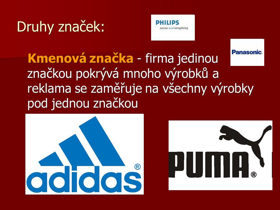 Druhy značek: Kmenová značka - firma jedinou značkou pokrývá mnoho výrobků a reklama se zaměřuje na všechny výrobky pod jednou značkou Kmenová značka - firma jedinou značkou pokrývá mnoho výrobků a reklama se zaměřuje na všechny výrobky pod jednou značkou