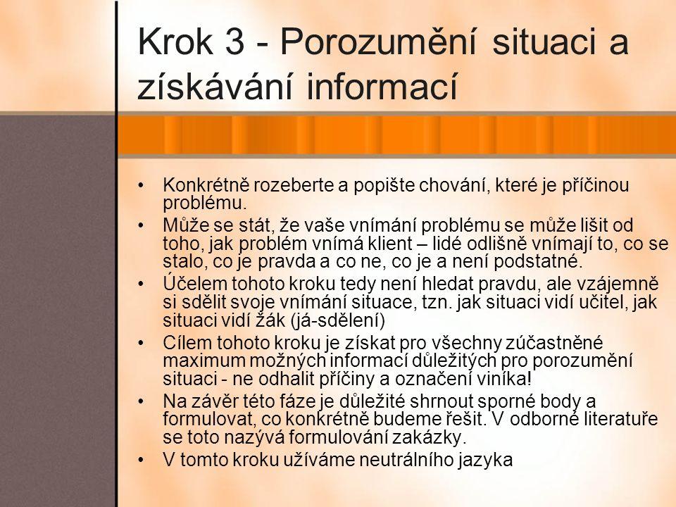 Krok 3 - Porozumění situaci a získávání informací Konkrétně rozeberte a popište chování, které je příčinou problému. Může se stát, že vaše vnímání pro