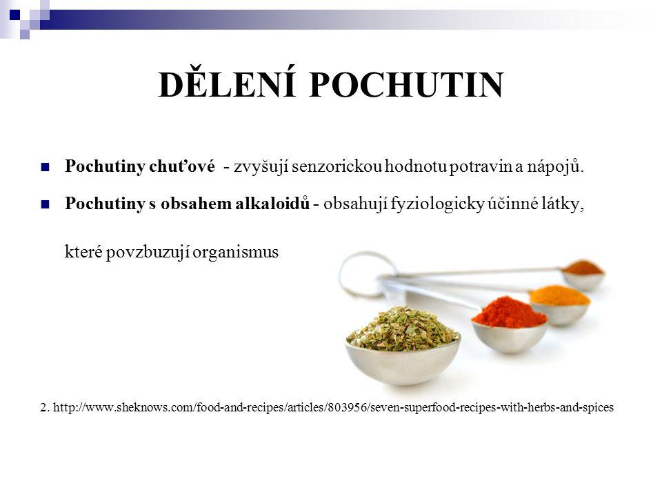 DĚLENÍ POCHUTIN Pochutiny chuťové - zvyšují senzorickou hodnotu potravin a nápojů. Pochutiny s obsahem alkaloidů - obsahují fyziologicky účinné látky,