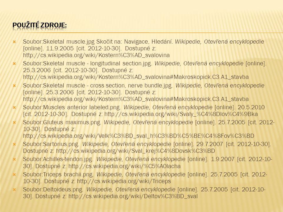  Soubor:Skeletal muscle.jpg Skočit na: Navigace, Hledání. Wikipedie, Otevřená encyklopedie [online]. 11.9.2005 [cit. 2012-10-30]. Dostupné z: http://